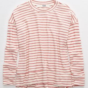 Aerie Striped Beach Fleece Sweatshirt